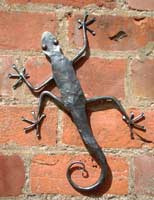 Hand forged steel Gecko wallhanging by Iron Vein designer makers