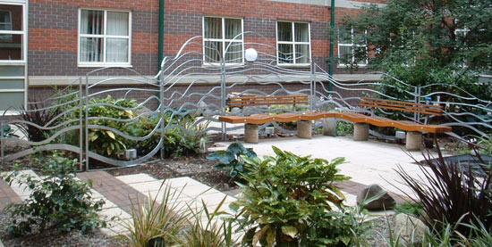 decorative steel panels in the Quiet Garden at the Victoria Memorial Hospital in Blackpool